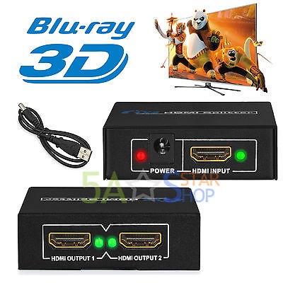 Fach 3D HDMI Splitter Switch Verteiler 1080p 1x2 HDTV 1 In 2 Out 3D PC Full HD Hdmi 3 X 1 Hdtv