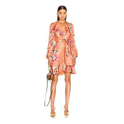 Patbo Floral Ruffle Hem Mini Wrap Salmon Dress $595 Sz 2