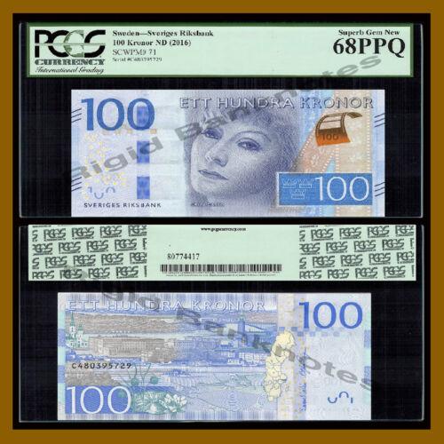 Sweden 100 Kronor, 2016 P-71 New Greta Garbo PCGS 68 PPQ