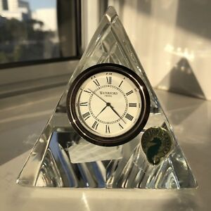 New beautiful Waterford Crystal Pyramid clock with pouch & box