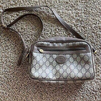 Authentic Vintage GUCCI Crossbody Shoulder Bag Handbag Purse Logo Monogram Briwn