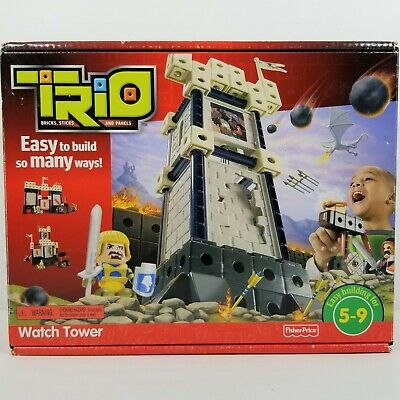 Trio Watch Tower Building Fisher Price Easy Build Blocks Knight Cannon Ages 5-9