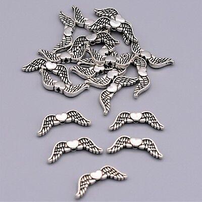 20 Metall Perlen Engelsflügel Spacer Flügel Schutzengel Basteln Herz DIY ()