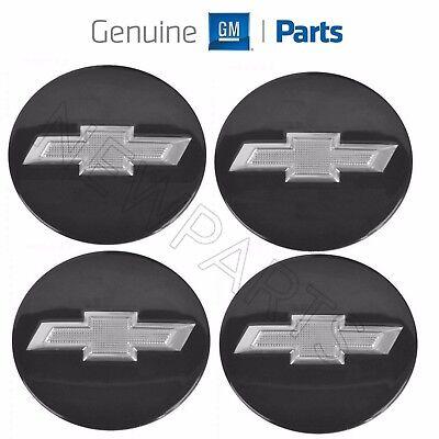 For Chevrolet Camaro 2010-2015 Set Of 4 Gloss Black Bowtie Center Cap Genuine GM