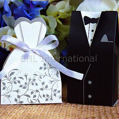 100pcs Wedding Favor Boxes Dress & Tuxedo Party Bride Groom Shower Gift Style 3