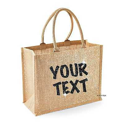 PERSONALISED SHIMMER JUTE BAG GLITTER TEACHERS GIFT MOTHER'S DAY ...
