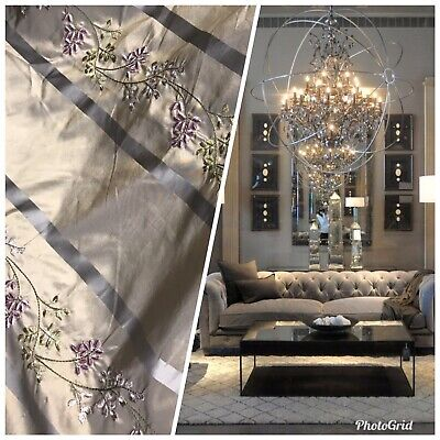 NEW! 100% Silk Taffeta Dupioni Embroidered Fabric Grey Taupe Gold Iridescent