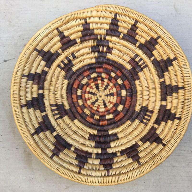 Large vintage 17 inch Navajo Native American Indian basket rare turtle design.