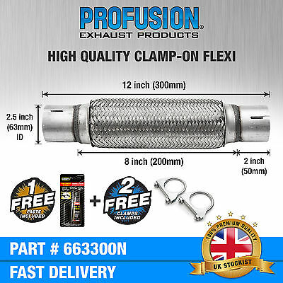 Clamp On 63mm x 300mm Exhaust Flexible Joint Repair Flexi Pipe tube Flex
