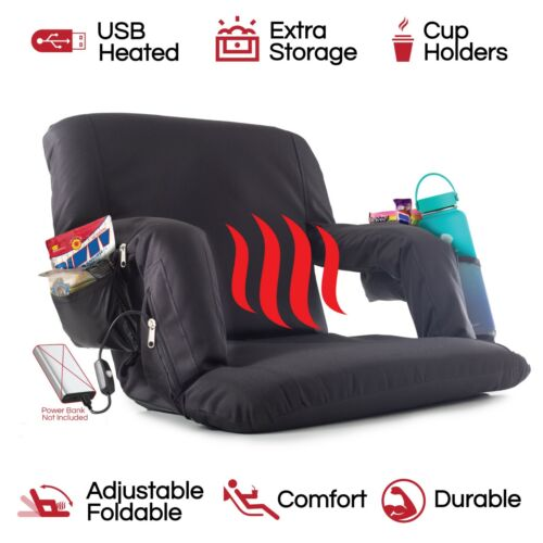 The Hot Seat, Heated Stadium Bleacher Seat, Reclining Padded Back Arm Support