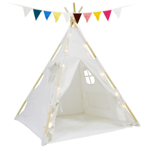 Cotton Play Tent Tents Playhouse Toddlers Kids Teepee Natural Fun LED Lights Outdoor Toys & Structures