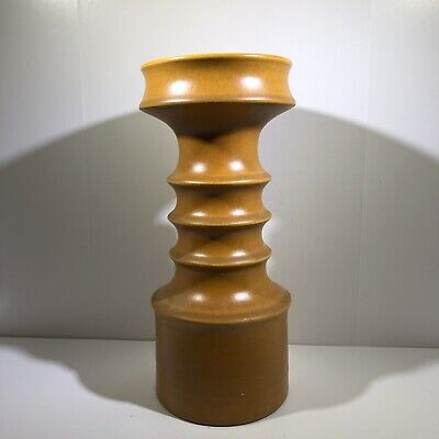 Mid Century West Germany Pottery Candle Stand Column Orange Yellow Brown