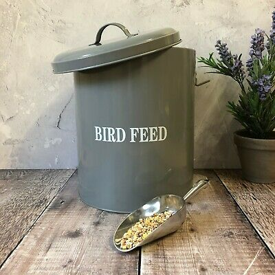 Wild Bird Feed Seed Food Store Storage Metal Tin Container Bin Box Grey & Scoop