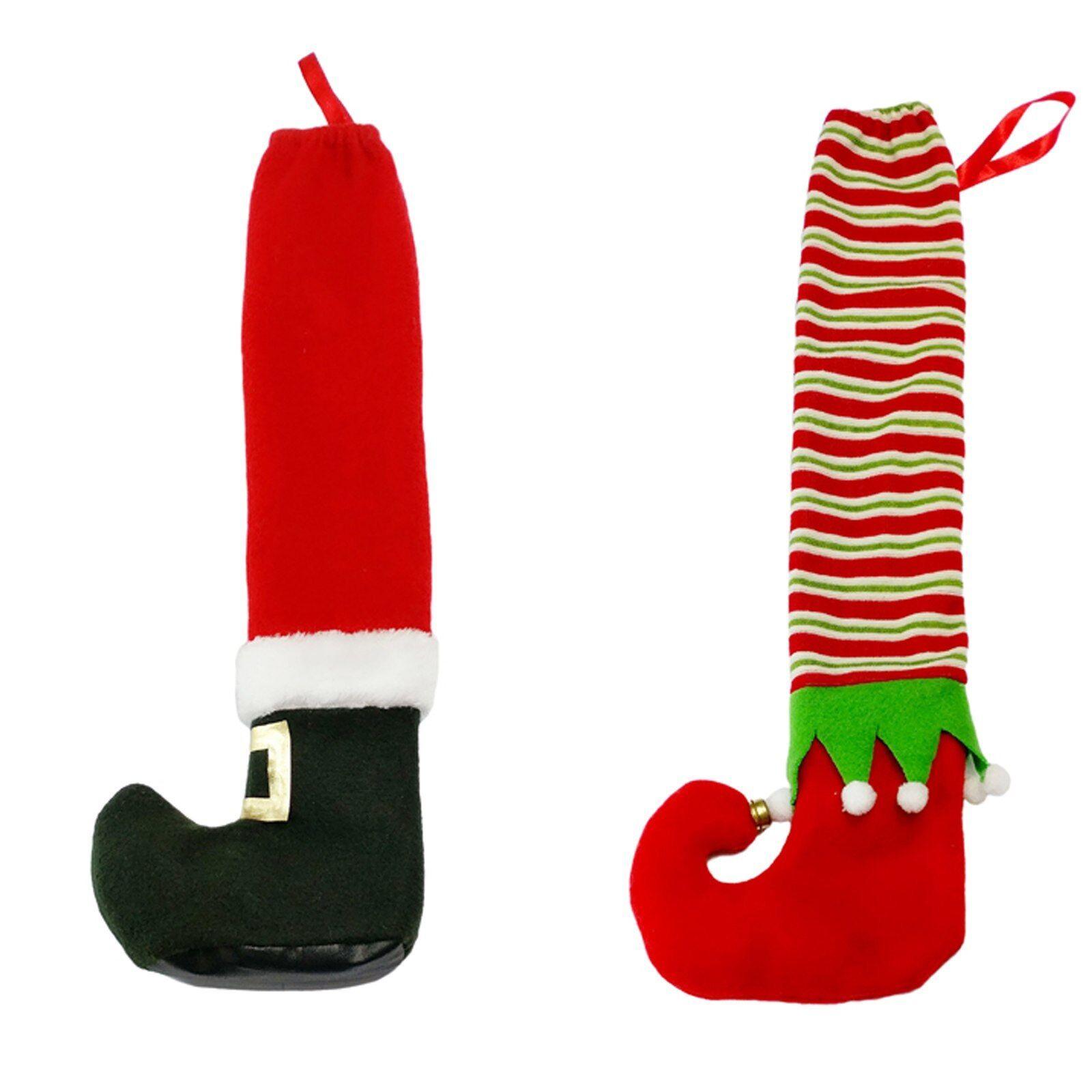 2//4PCS Christmas Chair Foot Socks Table Legs Cover Stocking Santa//Elves Boots