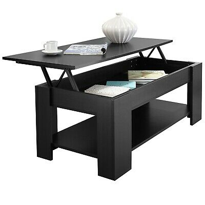 Black Wooden Coffee Table With Storage Lift Top Up Drawer Living Room Furniture