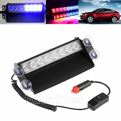 3 Modes 8LED Red/Blue Car Police Strobe Flash Light Dash Emergency Flashing Lamp