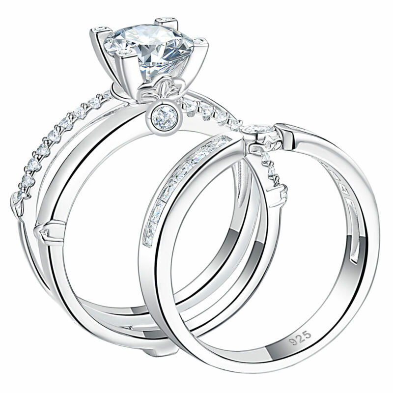 Women Wedding Engagement Ring Set 1.9ct Round White Aaaaa Cz 925 Sterling Silver
