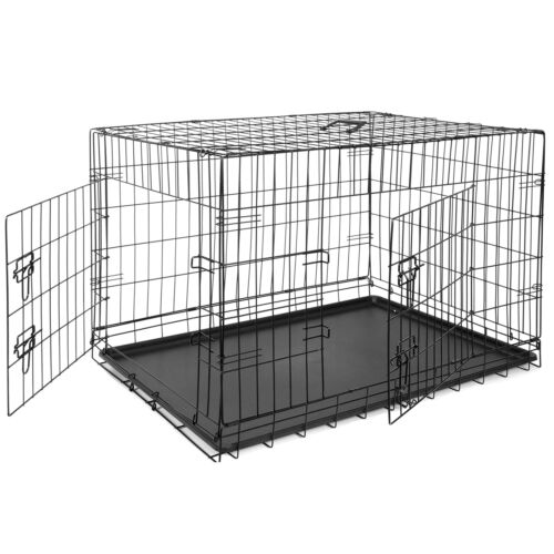 Metal Pets Dog Crate Double Door Folding Metal Dog Crates Fully Equipped Black Cages & Crates