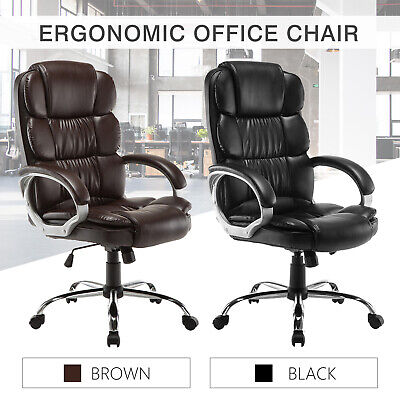 Pu Leather High Back Office Chair Executive Task Ergonomic Computer Desk