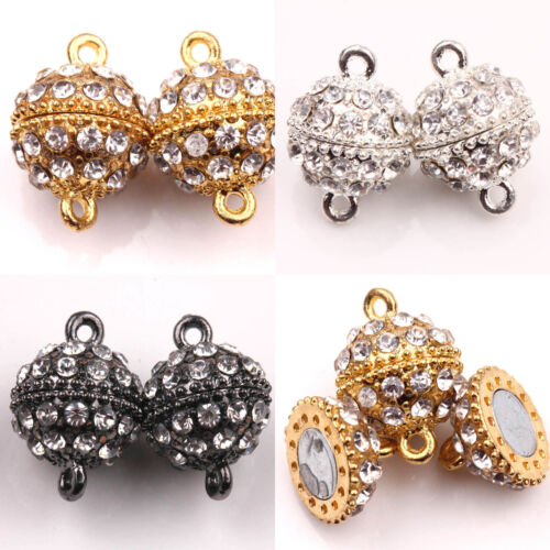 5//10Pcs Gold Silver Plated Rhinestone Round Magnetic Clasps Hooks Making 19x14MM