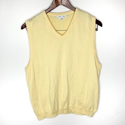 Geoffrey Beene Yellow V-Neck Pullover Sweater Vest Size L Large