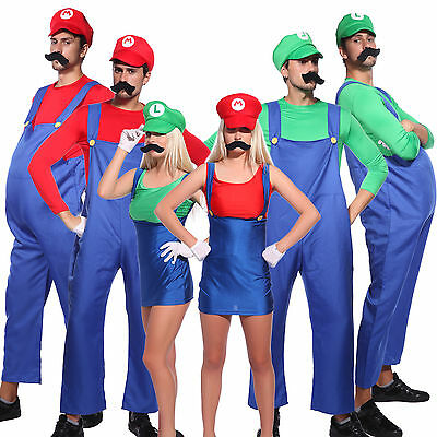 Damen Fancy Dress (Karneval 80er Klempner Bros Mario Luigi Kostüm Herren Damen Kinder Fancy Dress)