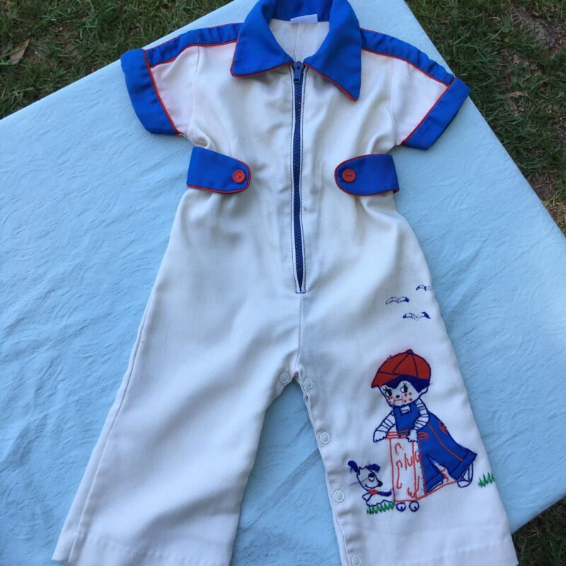 Vintage Childs Jumpsuit Zip Up Boys