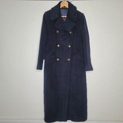 Tagliatore Britta Size 40 Alpaca Virgin Wool Blue Long Coat