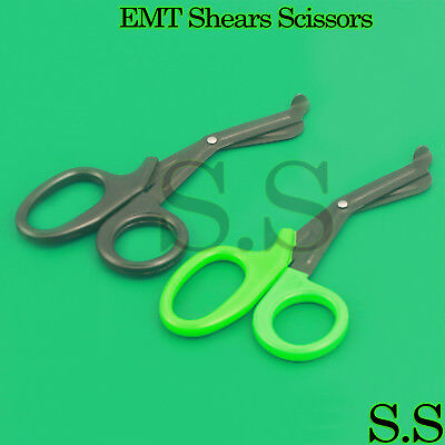 Set Of 2 Black Green Fluoride Black Coated Trauma Paramedic Emt Shears 7.5