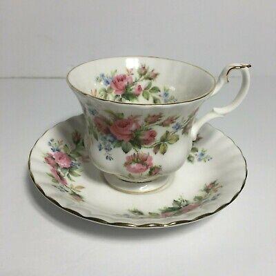 Royal Albert Moss Rose Floral Fine Bone China England Tea Cup And Saucer