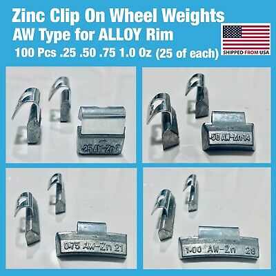100 PCS ASSORT ZN CLIP-ON WHEEL WEIGHT .25 50.75 1.0 (25 each) ALLOY RIM AW TYPE