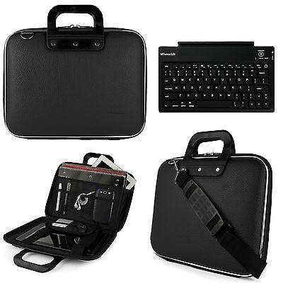"""Sumaclife Leather Shoulder Bag Case For 11.6"""" Laptop/Tablet+Wireless Keyboard US"""