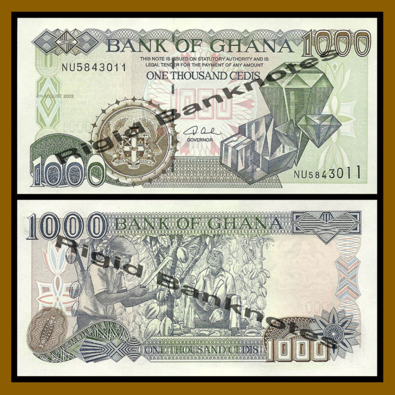 Ghana 1000 (1,000) Cedis, 2003 P-32i Gems & Diamonds Unc
