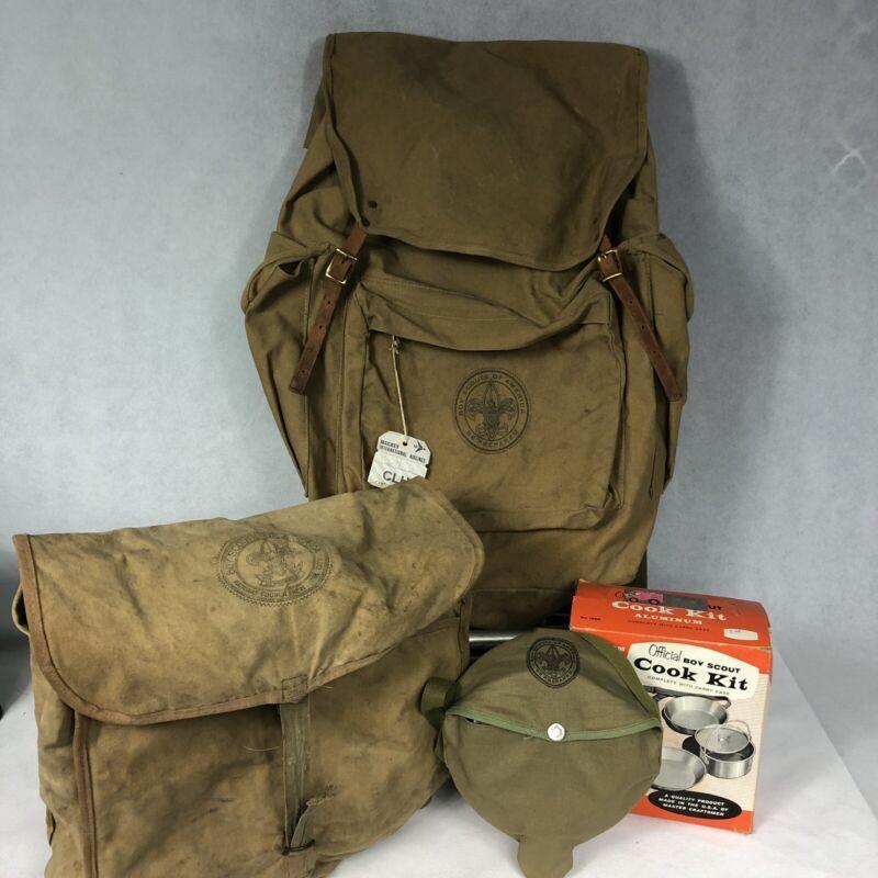 Vintage Boy Scout Back Pack With Frame Daypack Cook Kit Lot New York