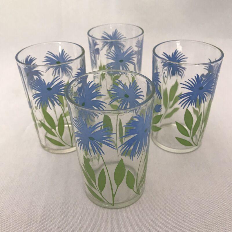 "Set Of 4 Swanky Swig 3 1/2"" Juice Glasses Blue Cornflower Pattern Excellent"