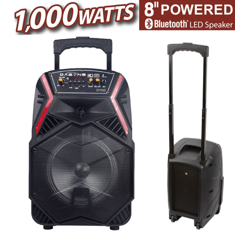 """8"""" 1000W Portable Stereos FM Bluetooth Party Speaker Bass Subwoofer PA System"""
