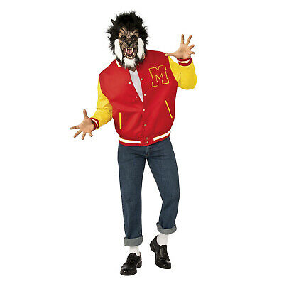 Men's Michael Jackson Thriller Halloween Costume Varsity Jacket Wolf Mask Wig