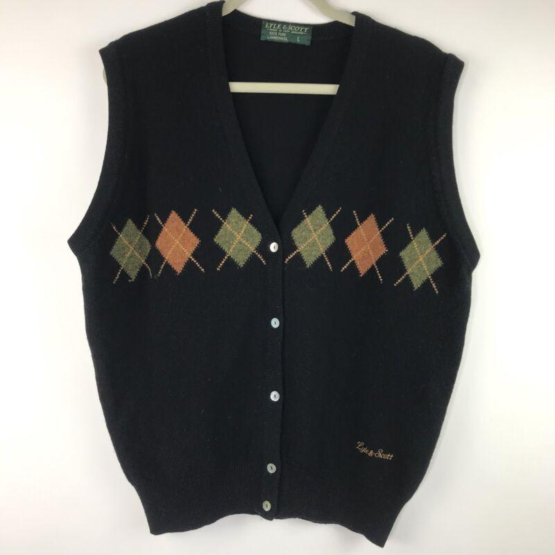 Vintage Lyle & Scott Pure Lambswool Argyle Sweater Vest New Zealand Black Size L