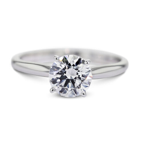 GIA CERTIFIED 0.77 Carat Round shape E - VS2 Solitaire Diamond Engagement Ring