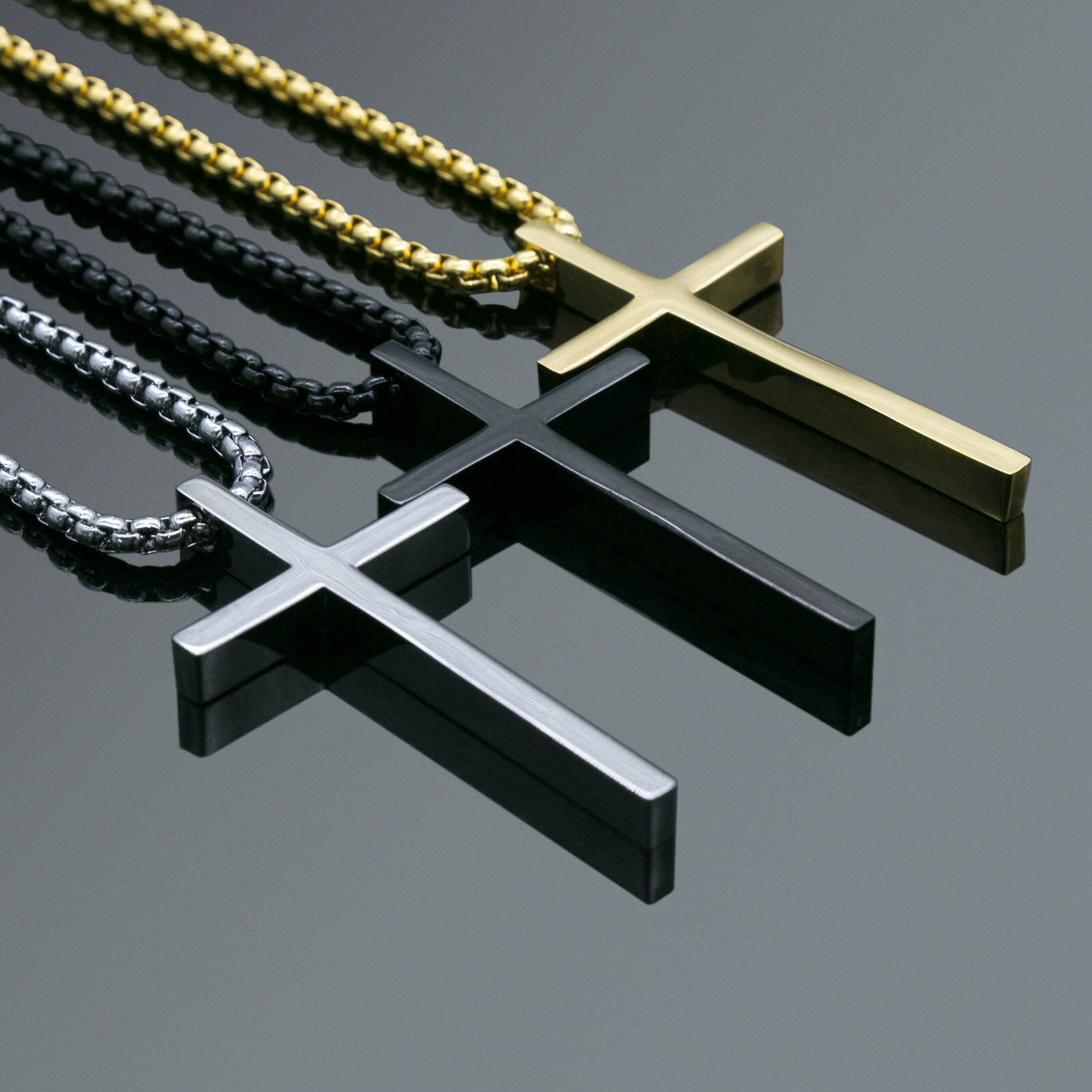 Jewellery - Men's Fashion Jewelry Plain Charm Gold Black Silver Cross Pendant Chain Necklace