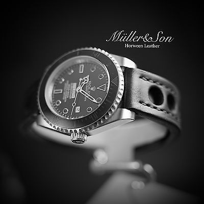 Müller&Son Horween Leather Rally Watch Strap Black 20mm for Rolex Submariner
