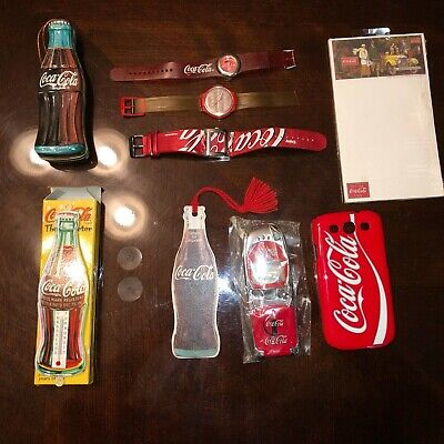 9 Piece Coca-Cola COKE lot various including watches,phone case etc. See photos