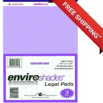 Enviroshades Legal Pad 8-12 X 11-34 Inches Orchid 50 Sheets Pack Of 3 New