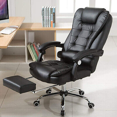 Executive High Back Recliner Office Chair Computer Desk Soft Leather Swivel Seat