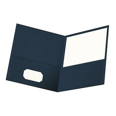 Oxford Twin-pocket Folders Textured Paper Letter Size Dark Blue Holds 100