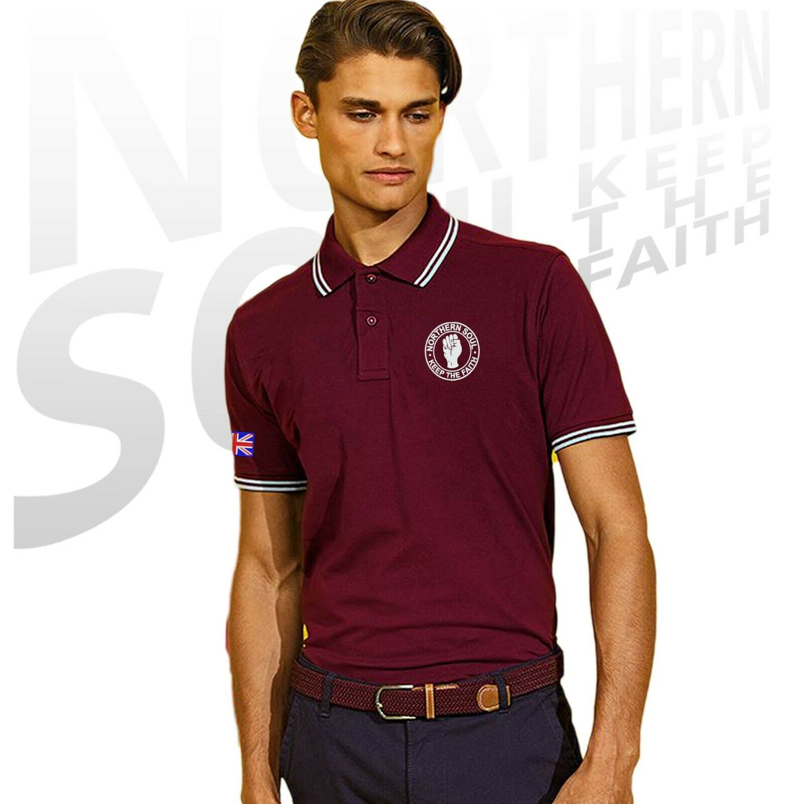 Mod Retro. Women/'s Northern Soul Tipped Polo Shirt With Embroidered Fist Logo