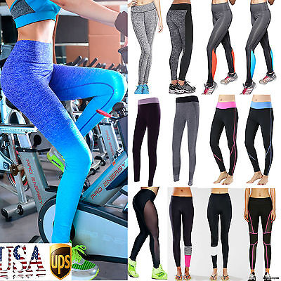 Leggings - USPS Women High Waist Yoga Fitness Leggings Running Gym Sports Pants Trousers SS