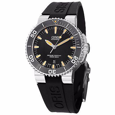 Oris Men's Divers Black Dial Black Rubber Strap Automatic Watch 73376534159RS