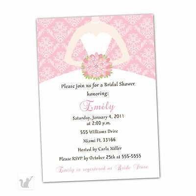 30 Invitation Cards Custom for Bridal Shower Sweet 16 Damask Pink Dress A1