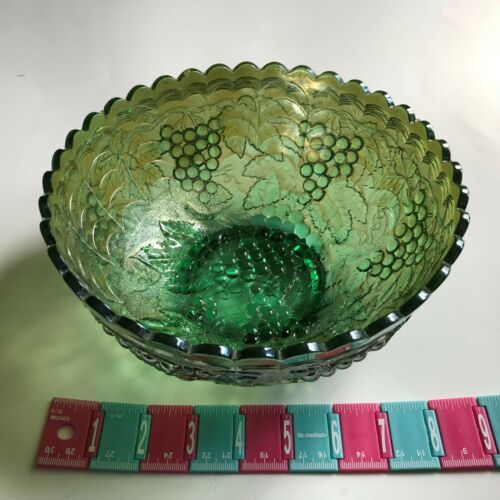 Green Carnival Glass Grape Decorated Bowl